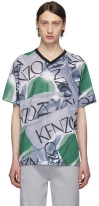 Kenzo Grey and Green Loose-Fiting Sportswear T-Shirt