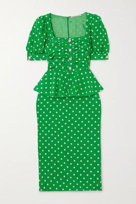 Alessandra Rich Ruched Embellished Polka-dot Silk Crepe De Chine Dress - Green
