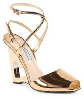 Prada Metallic Leather Cutout Heart Wedge Sandals
