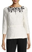 Escada Sequined Floral Matelasse Top, Off White