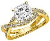 Houston Diamond District 1.03 Carat t.w. 14K White Gold Princess Eternity Love Criss Cross Twisting Split Shank Diamond Engagement Ring SI2-I1
