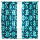 "Mudhut Tamerin Teal Flower Window Panel - Blue (55""x84"")"