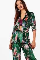 boohoo Eva Floral Printed Velvet Belted Blazer