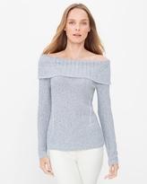 White House Black Market Petite Off-The-Shoulder Marled Shine Sweater
