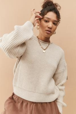 Urban Outfitters Knitted Fisherman Jumper - White XS at