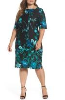 Gabby Skye Plus Size Women's Floral Scuba Knit Sheath Dress