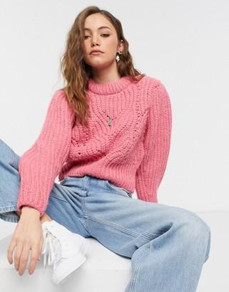 Topshop detail sleeve jumper in rose