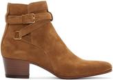 Saint Laurent Brown Suede Blake Boots