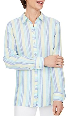 Foxcroft Journey Striped Easy Care Linen Shirt