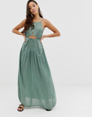 Asos Design DESIGN beach maxi dress in crinkle with strappy waist detail-Green