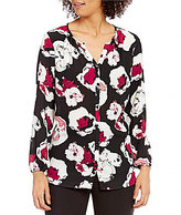 Preston & York Leslee Long Sleeve Button-Front Floral Blouse