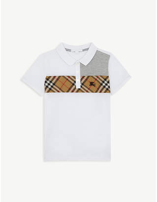 Burberry Panelled check cotton polo shirt 3-14 years