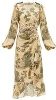 Johanna Ortiz Al Son Del Tambor Silk-georgette Wrap Dress - Womens - Green Multi