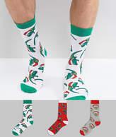Asos Christmas Socks With Animals In Santa Hats 3 Pack