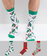 Asos Holidays Socks With Animals In Santa Hats 3 Pack