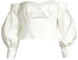 Flor Et. Al Fanny Duchess Stripe Off-the-Shoulder Balloon-Sleeve Blouse
