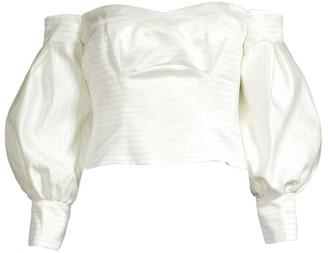 Flor Et. Al Fanny Duchess Stripe Off-the-Shoulder Balloon-Sleeve Blouse