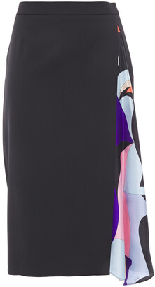 Emilio Pucci Draped Printed Satin-twill And Wool-blend Skirt