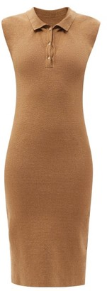 Jacquemus Santon Open-collar Knitted-linen Midi Dress - Dark Beige