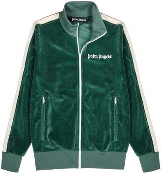 Palm Angels Green striped velour track jacket