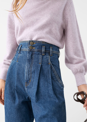 And other stories High Rise Pleated Organic Cotton Jeans