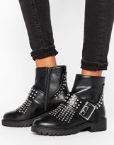 Missguided Fringe Stud And Buckle Biker Boot