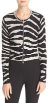 Tracy Reese Zebra Print Crop Cotton Cardigan