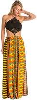 Indah Revel Printed Crochet Diamond Halter Maxi Cover Up Dress 8132277