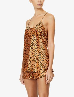 Olivia von Halle Bella animal-print silk-satin pyjama set