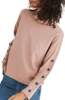 Madewell Button Sleeve Organic Cotton Turtleneck Top