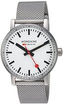 Mondaine evo2 35mm sapphire Watch with St. Steel brushed Case white Dial and stainless steel mesh Strap MSE.35110.SM