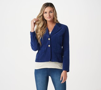 Laurie Felt Corduroy 2-Button Blazer with Pockets