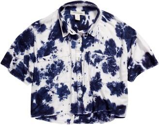 Treasure & Bond Kids' Tie Dye Boxy Crop Shirt