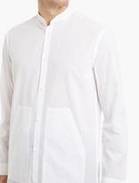 Helmut Lang White Cotton Collarless Shirt