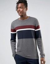 Selected Crew Neck Knitted Sweater with Stripe