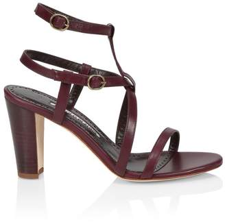 Manolo Blahnik Roca Double Ankle-Strap Leather Sandals