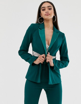 4th + Reckless satin trim blazer with waist cutouts in green