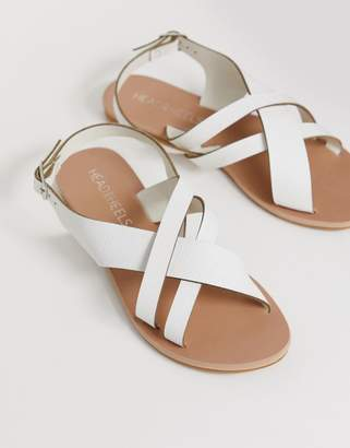 Head Over Heels By Dune Larra white cross over multi strap toe post sandals