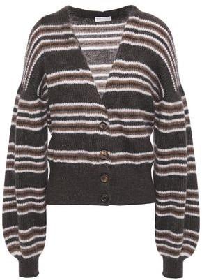 Brunello Cucinelli Striped Metallic Brushed Ribbed-knit Cardigan