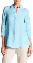 Foxcroft 3/4 Sleeve Hi-Lo Linen Tunic Shirt