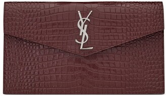 Saint Laurent Crocodile Embossed Uptown Pouch