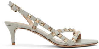 Valentino Grey Garavani Rockstud Slingback Sandals