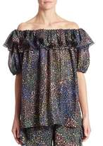 Chloé Ruffled Off-The-Shoulder Lurex Blouse