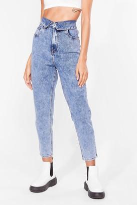 Nasty Gal Womens Fold You So Acid Wash Mom Jeans - Blue - 34