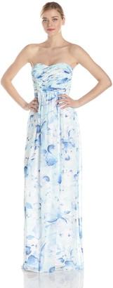 Donna Morgan Women's Stephanie Long Strapless Chiffon Printed Dress
