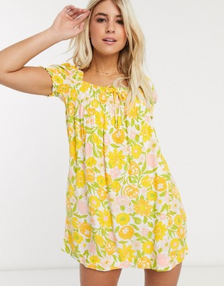 Faithfull The Brand Faithfull fleur floral square neck short sleeve mini dress