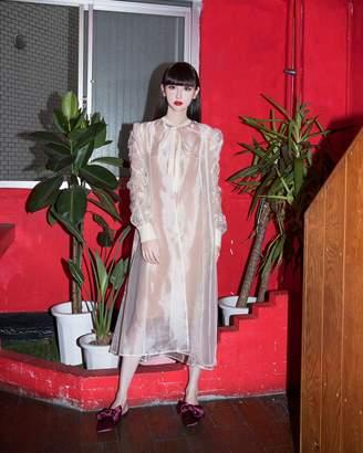 BEIGE The Drop Women's Vintage Ruched Long Sleeve Sheer Organza Midi Overshirt by @emisuzuki XS