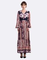 Coco Ribbon Silk Peasant Maxi Dress