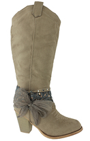 Pierre Dumas Taupe Tall Bow Denny Boot
