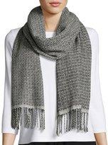 Eileen Fisher Tonal Basketweave Wool-Blend Scarf, Ash